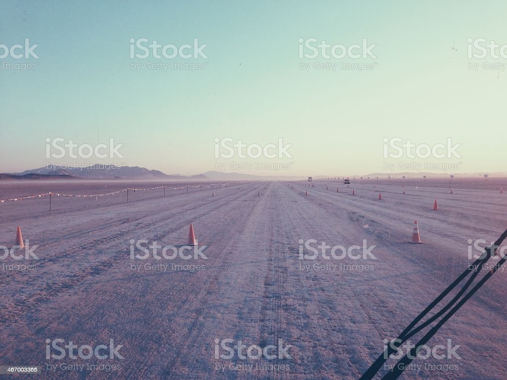 Road to Burning Man in the desert stock photo