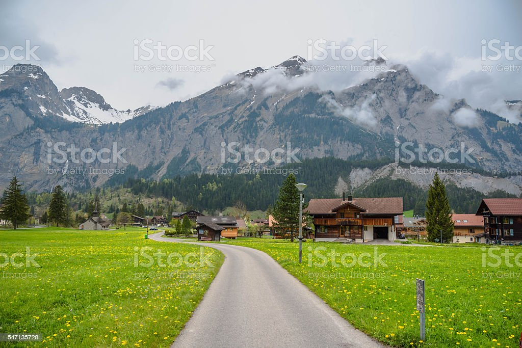 Road to Cable Car to Oeschinensee Lake stock photo