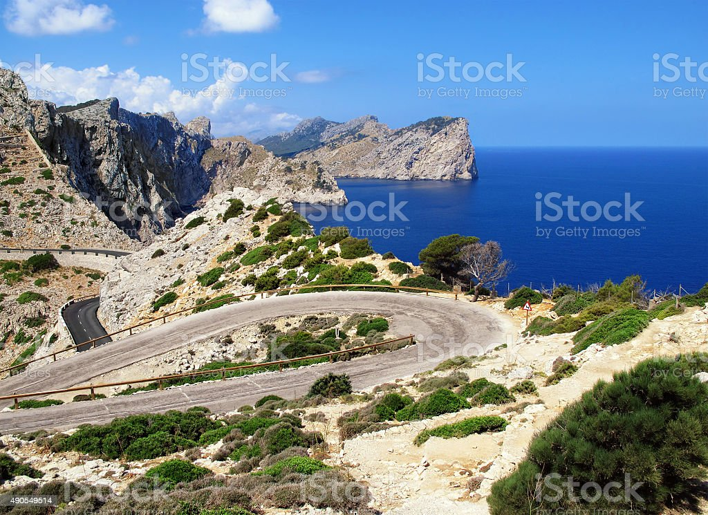 road to Cap Fomentor (Mallorca) and landscape surrounding stock photo