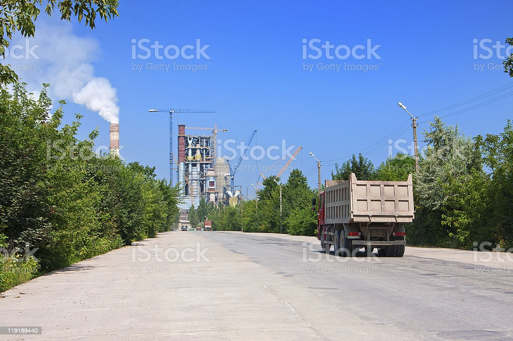 Road to cement plant royalty-free stock photo