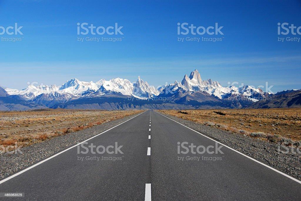 Road to Cerro Torre & Fitz Roy in Patagonia stock photo