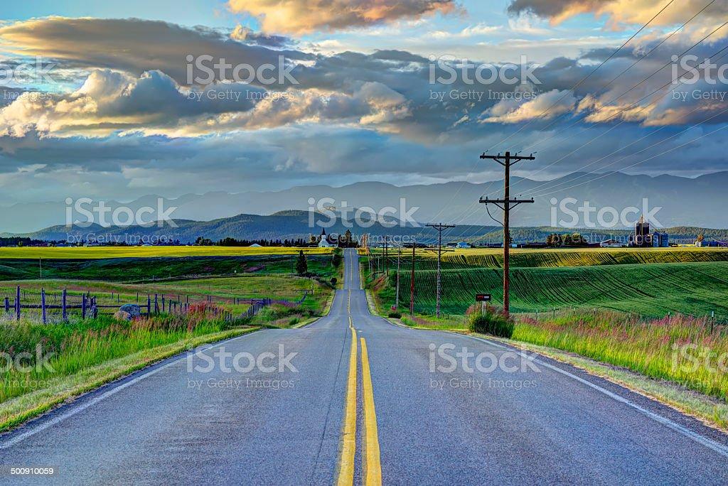 Road to Church stock photo