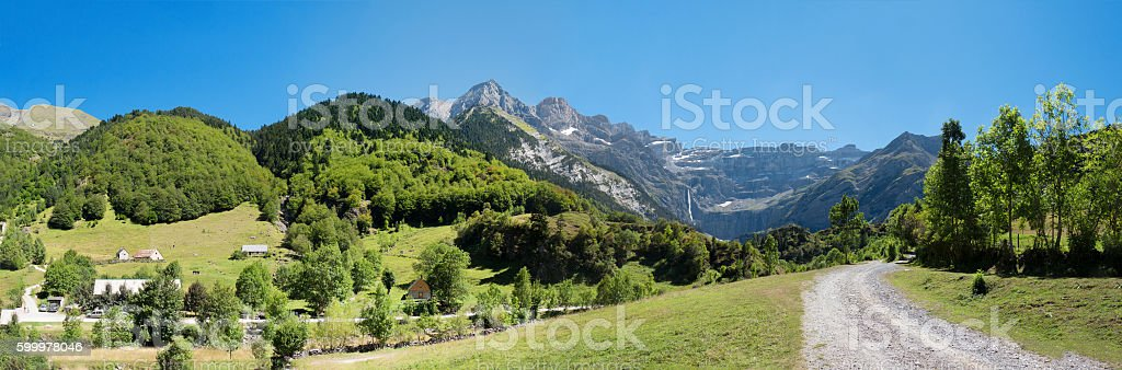 Road to Cirque de Gavarnie, Hautes-Pyrenees, France stock photo