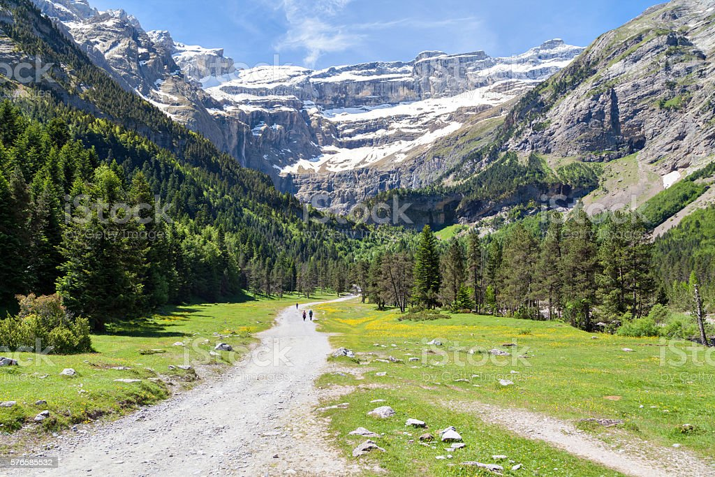 Road to Cirque de Gavarnie stock photo
