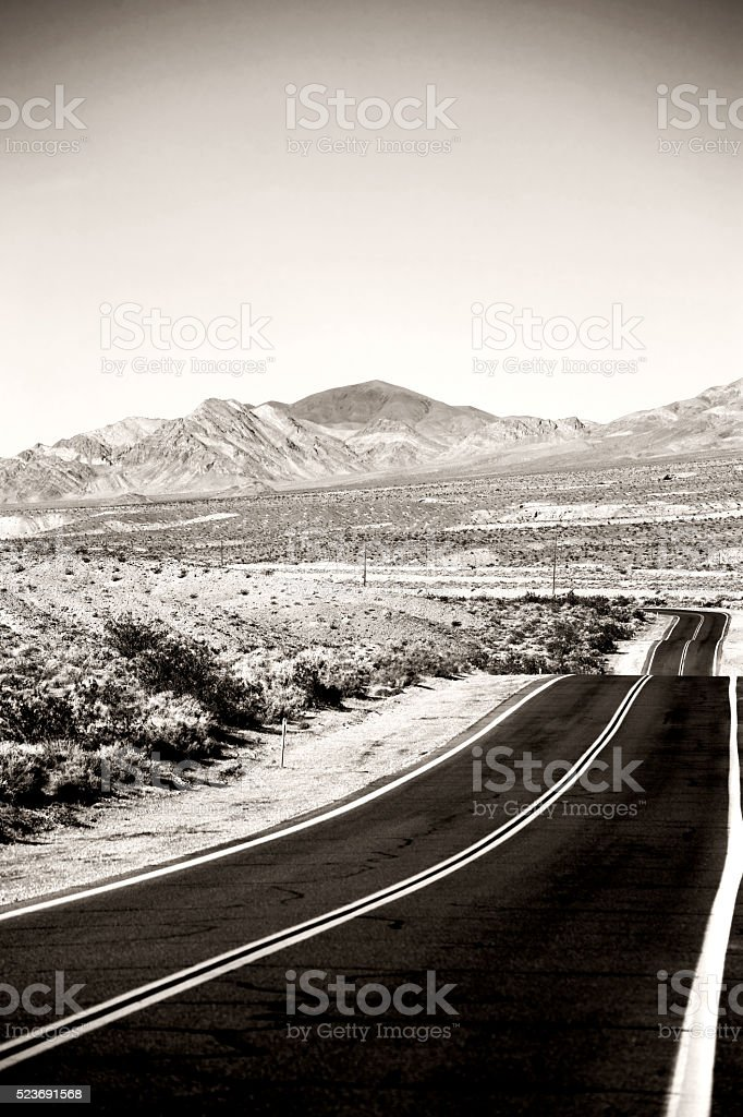 Road to Death Valley Junction stock photo