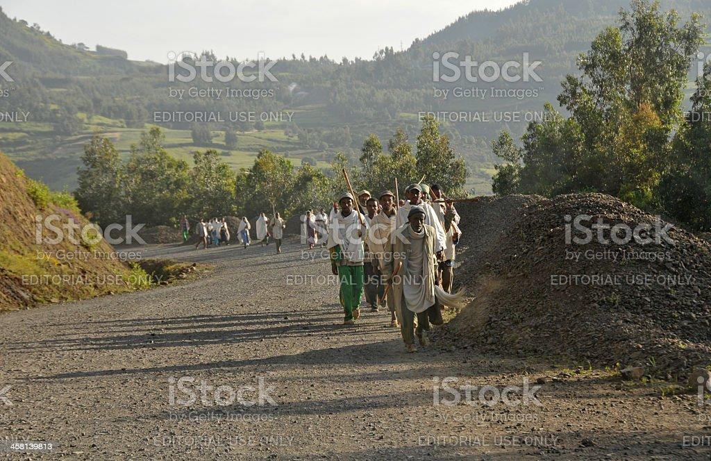 Road to Debark, Northern Ethiopia stock photo
