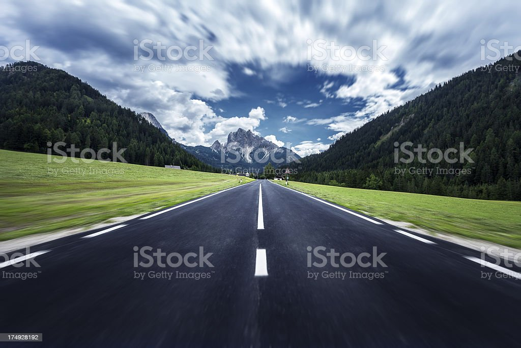 Road to Dolomites. The fast way forward. royalty-free stock photo