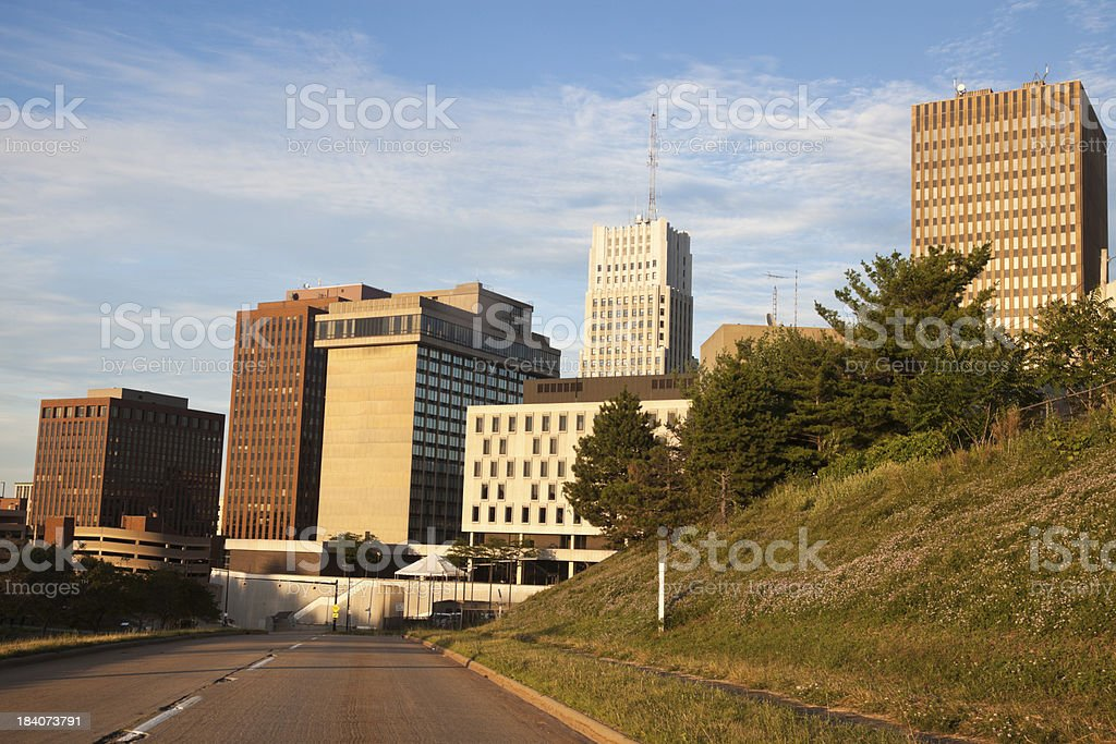 Road to downtown of Akron stock photo