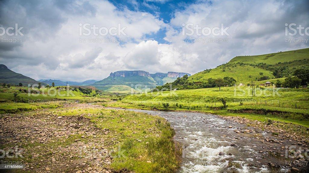 Road to drakensberg stock photo