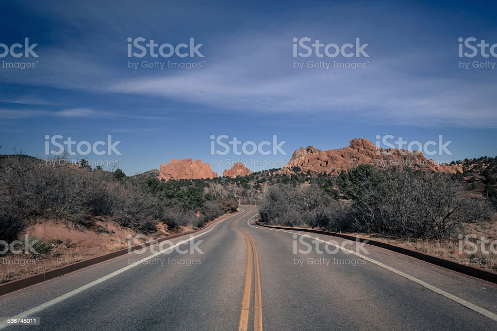 Road to Garden of the Gods stock photo