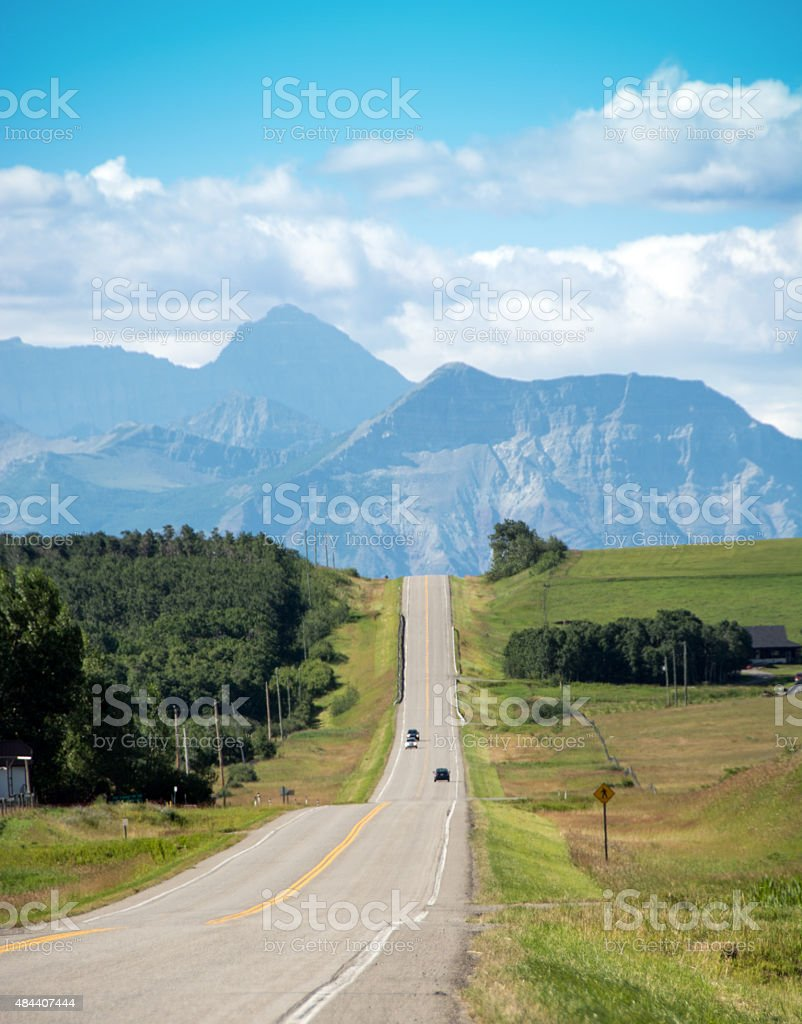 Road to Glacier and Waterton National Parks from Southern Alberta stock photo