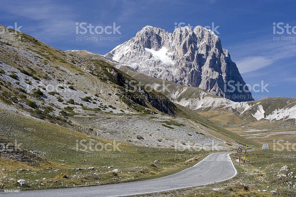 Road to Gran Sasso d'Italia royalty-free stock photo