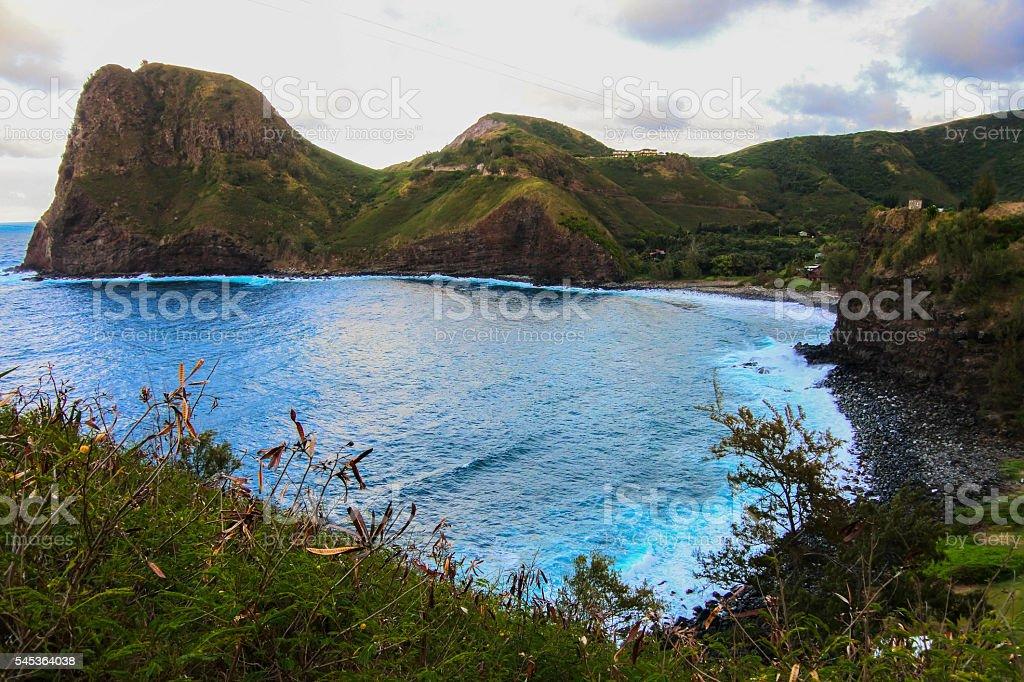 Road to Hana beach coastal view stock photo
