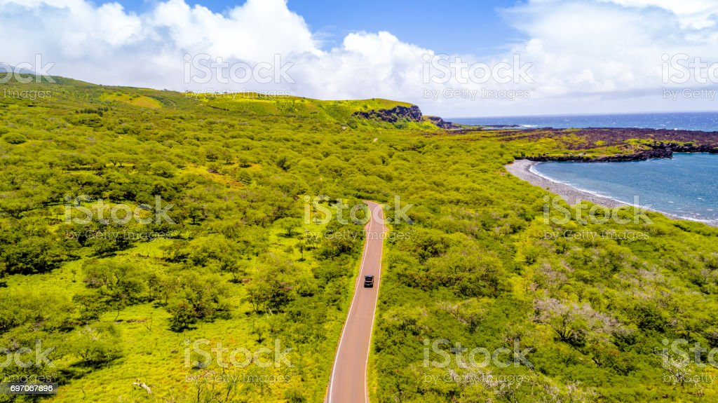 Road to Hana Coast, Hawaii stock photo