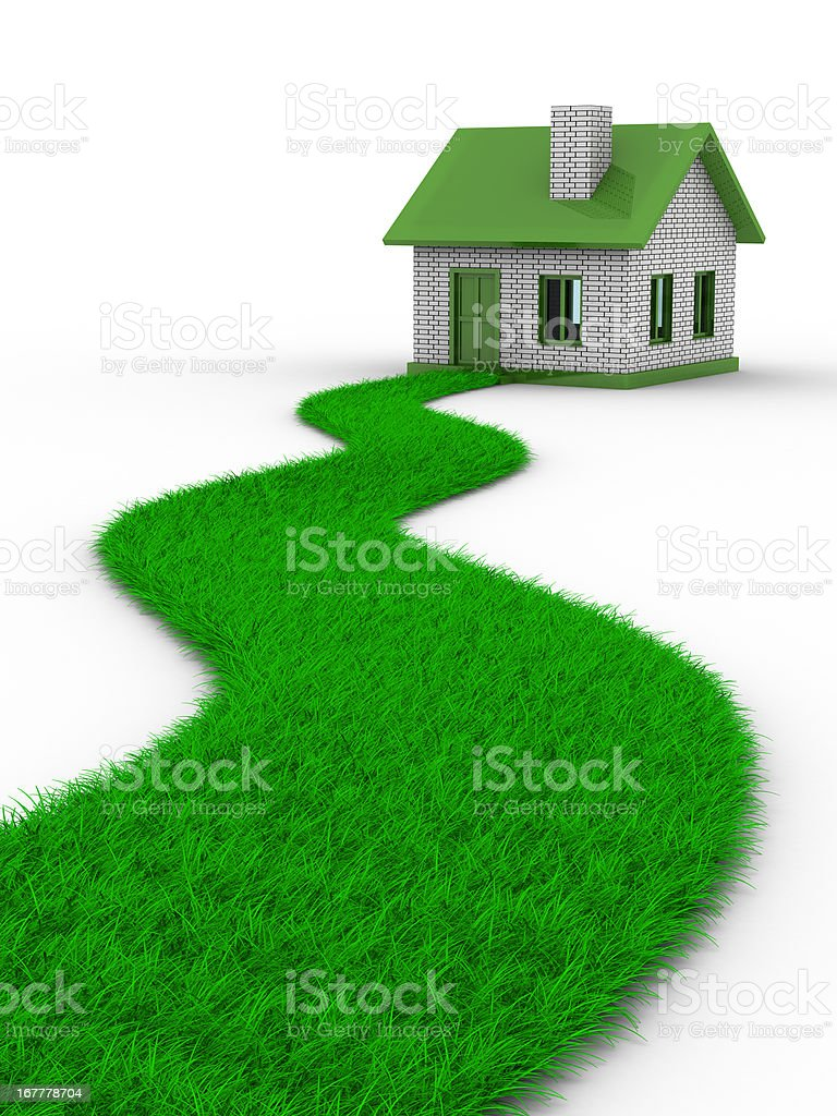 Road to house from grass. Isolated 3D image royalty-free stock photo