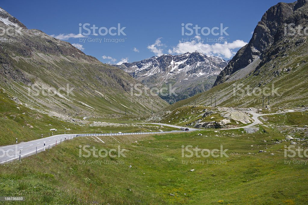 Road To Julierpass, Alps stock photo
