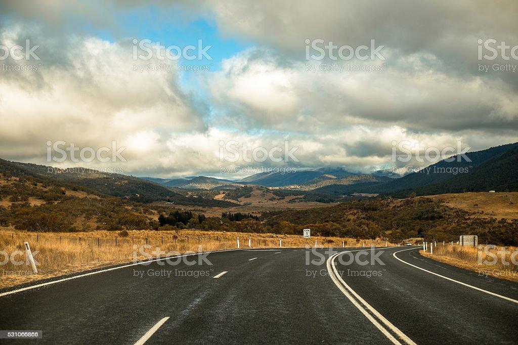 Road to kosciuszko national park stock photo