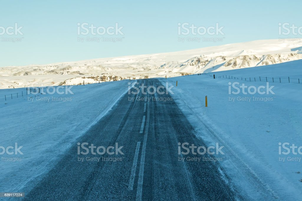 Road to Lagoon at Dyrholaey, Iceland in the snow stock photo