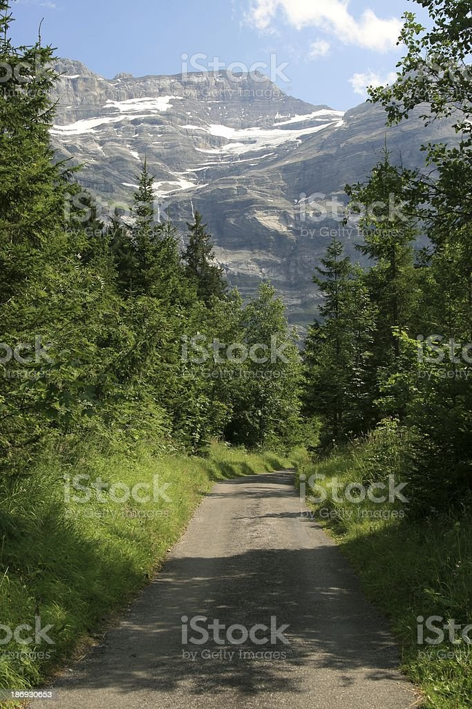 Road to Les Diablerets Area in Swiss royalty-free stock photo