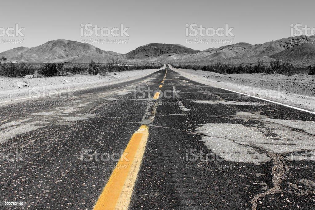 Road to Lone Pine in the Alabama Hills, Sierra Nevada, California, USA stock photo