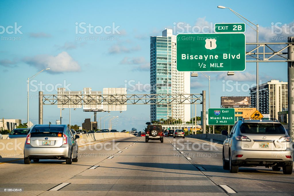 Road to Miami Beach, Florida, USA stock photo