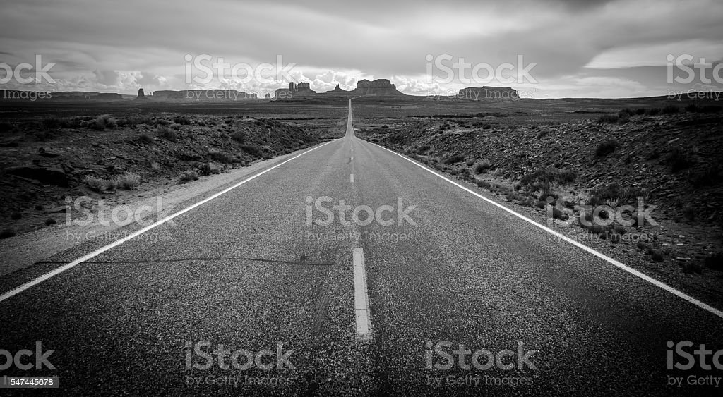 Road to Monument Valley Black and White stock photo
