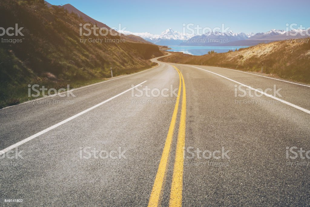 Road to Mount Cook, New Zealand stock photo