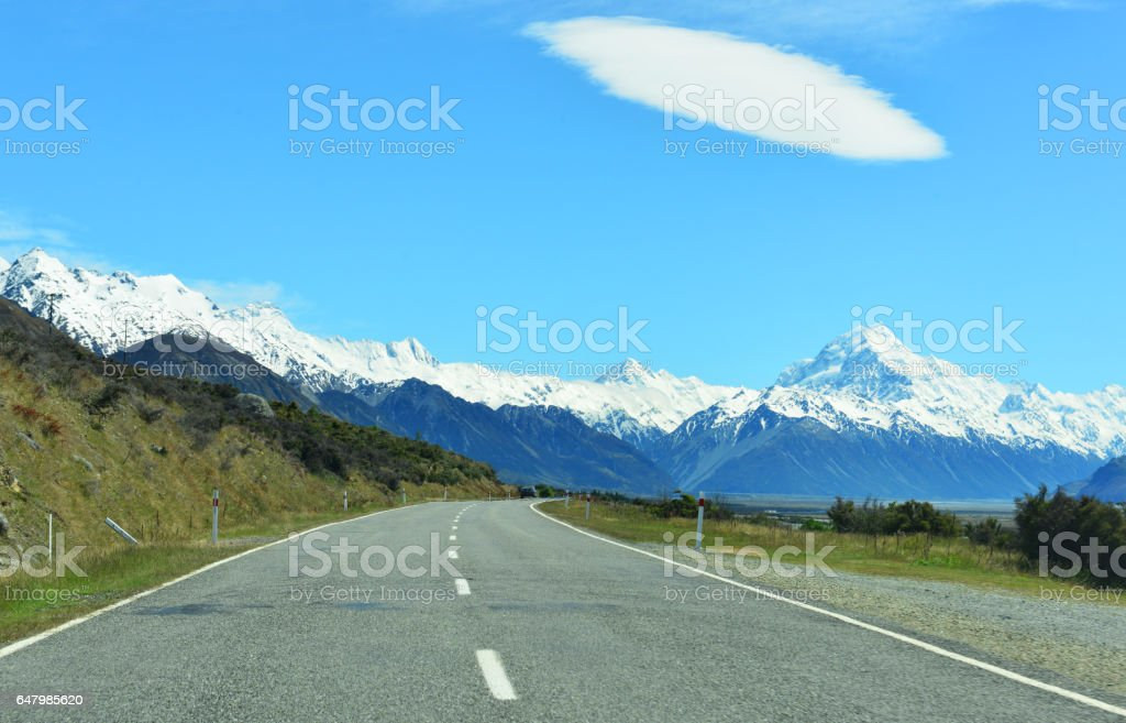 Road to mount Cook stock photo