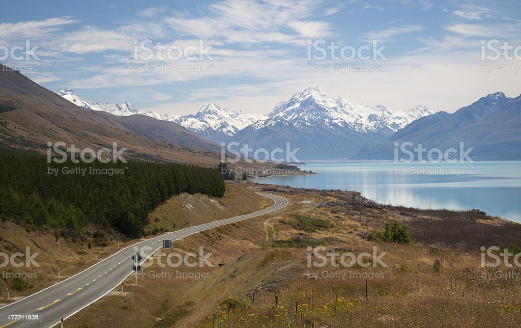 Road to Mount Cook, South Island, New Zealand royalty-free stock photo