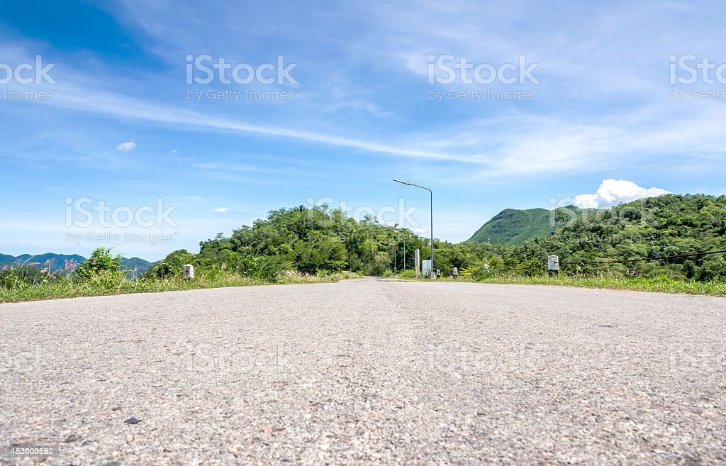 Road to mountains & river royalty-free stock photo