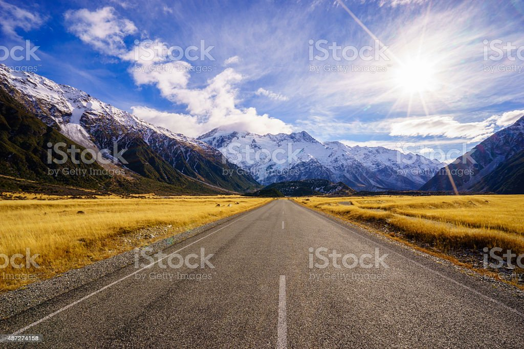 Road to Mt Cook in South Island stock photo