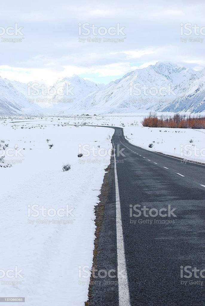Road to Mt Cook (Aoraki), New Zealand royalty-free stock photo