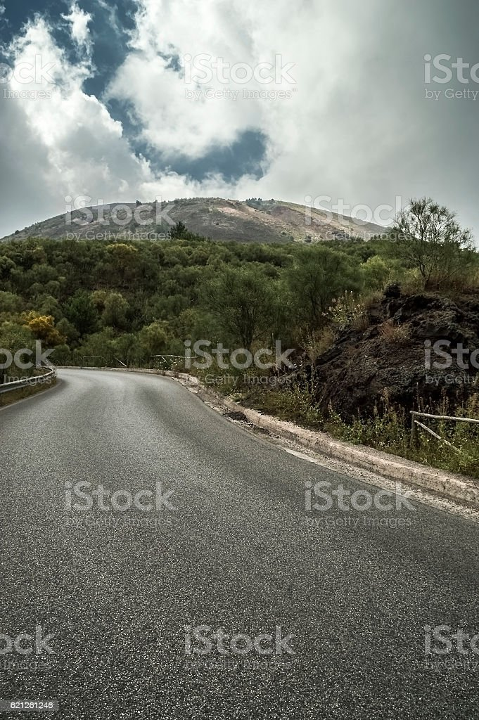 Road to Mt Vesuvius stock photo