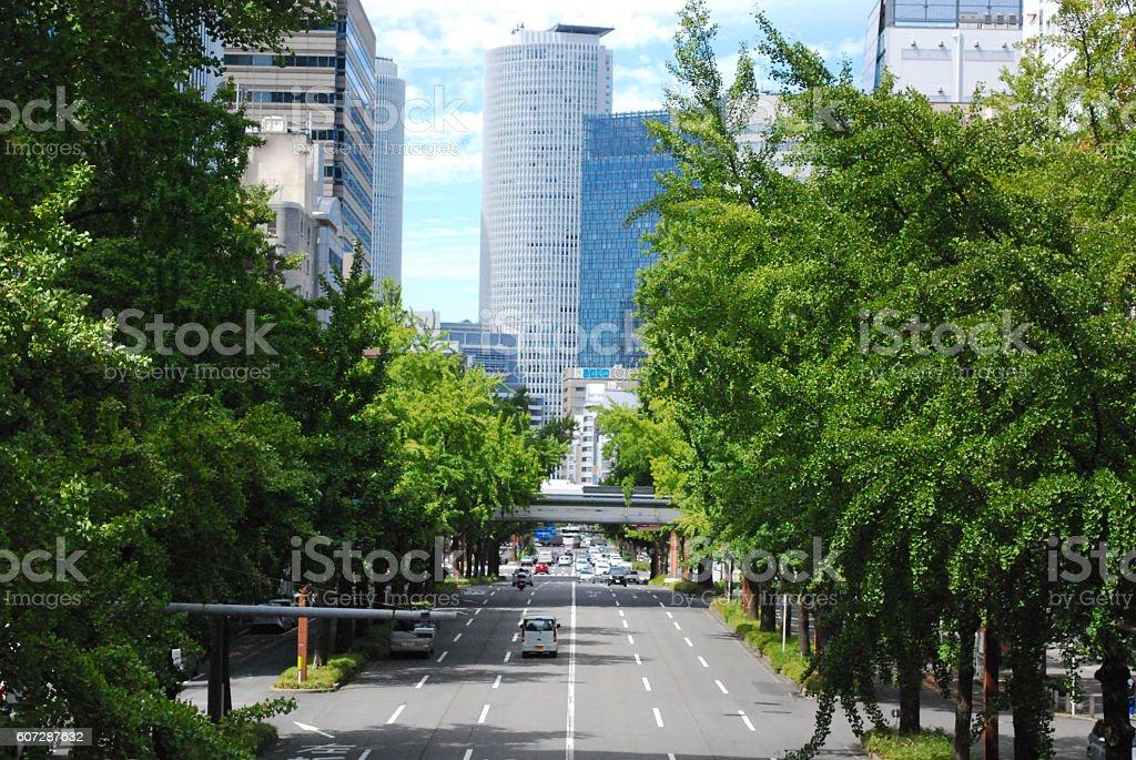 Road to Nagoya Station, Japan stock photo