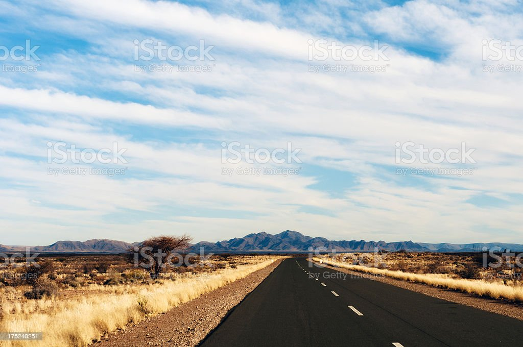Road to nowhere in Namibia royalty-free stock photo