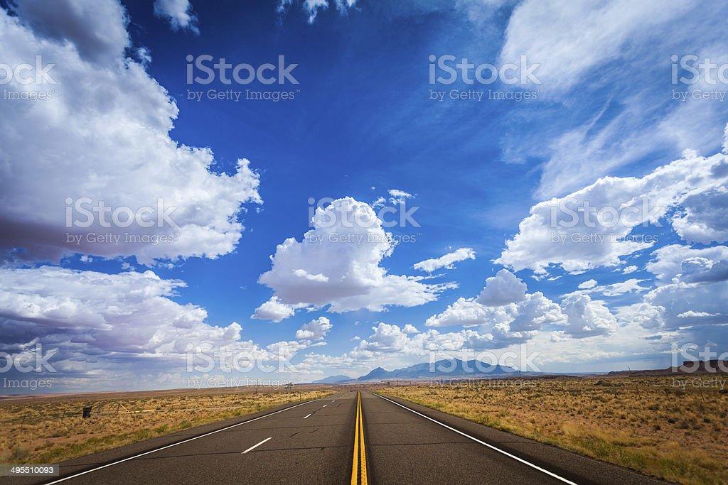 Road to nowhere, USA stock photo