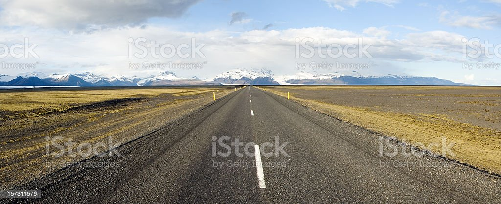 Road to Nowhere, vanishing point, Iceland stock photo