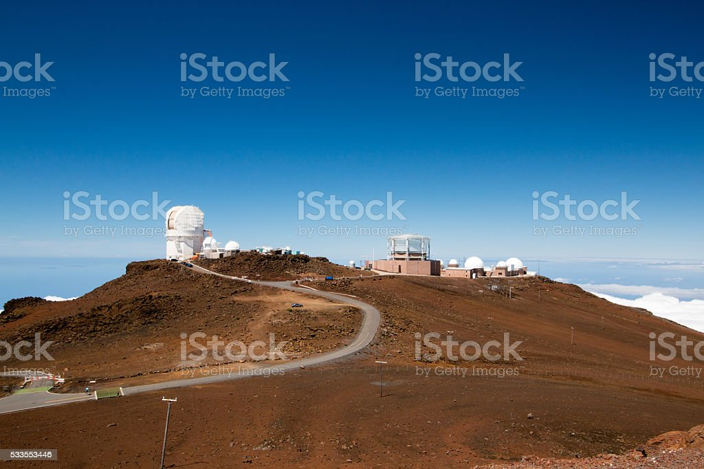 Road to Observatory at Haleakala stock photo