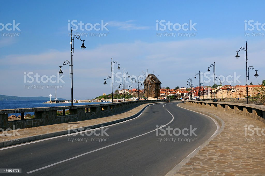 Road to Old Town of Nesebar stock photo