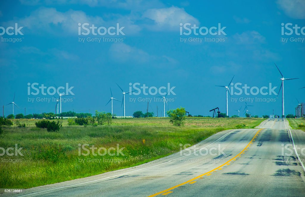 Road to Renewables is Long and Winding Wind Farm Future stock photo