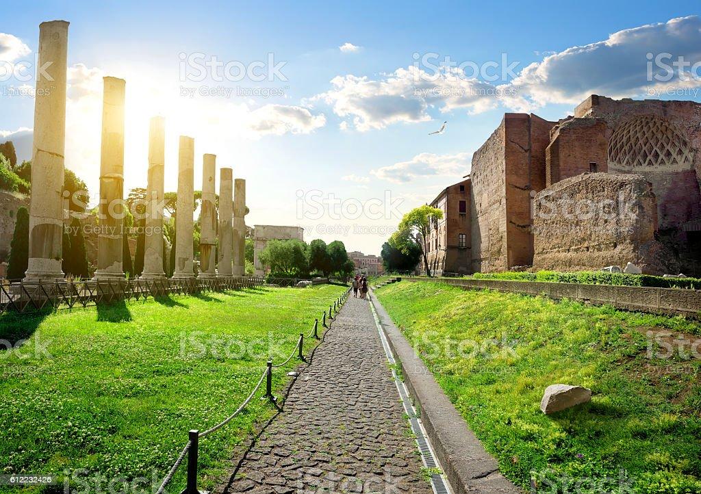Road to Roman Forum stock photo