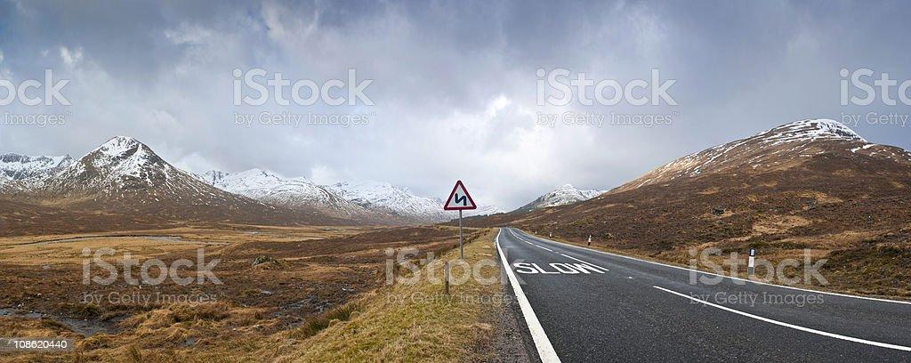 Road to Scottish Highlands royalty-free stock photo