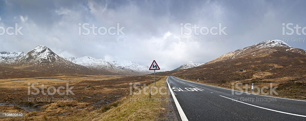 Road to Scottish Highlands stock photo