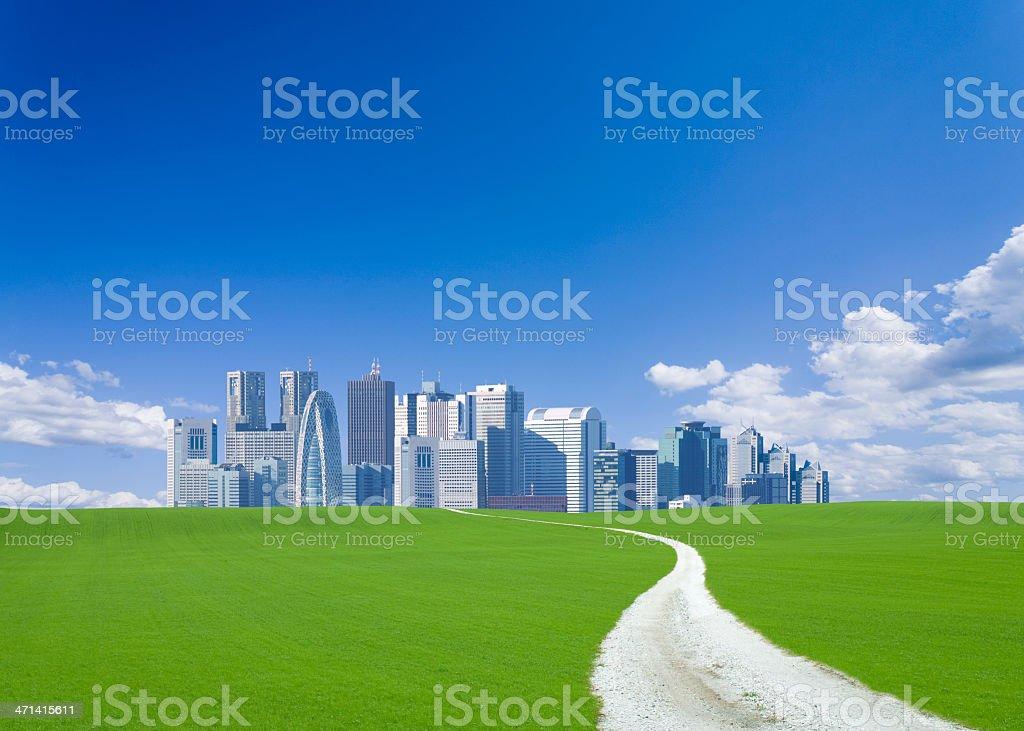 Road to Skyscraper stock photo