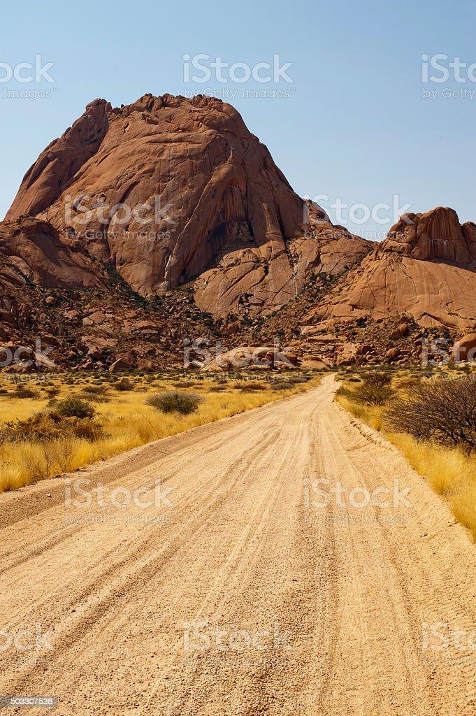 Road to Spitzkoppie Nature Reserve near Swakopmund, Namibia stock photo