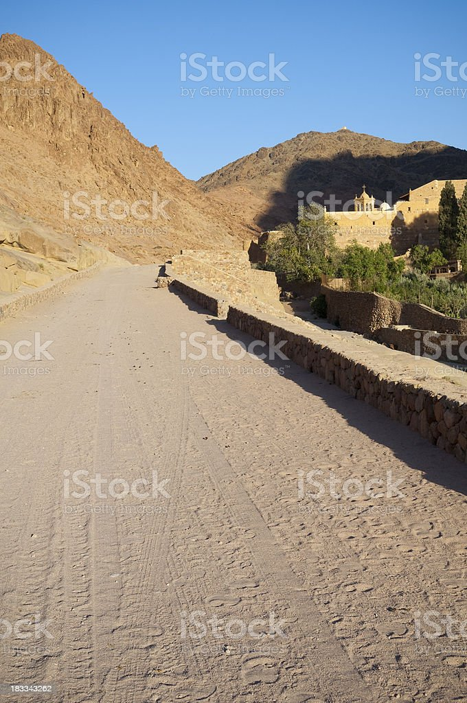 Road to St. Catherine's Monastery in Sinai stock photo