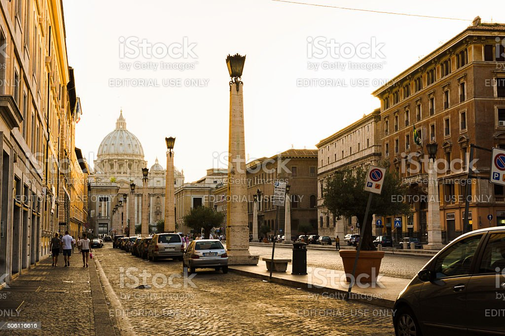 Road to St. Peter's Basilica stock photo