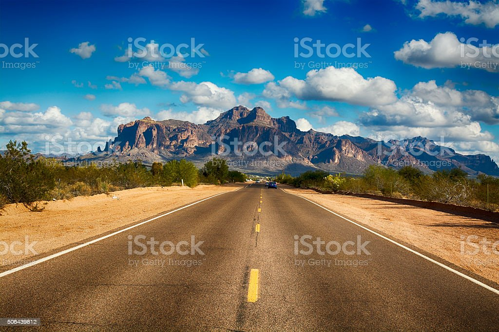 Road to Superstition Mountain stock photo