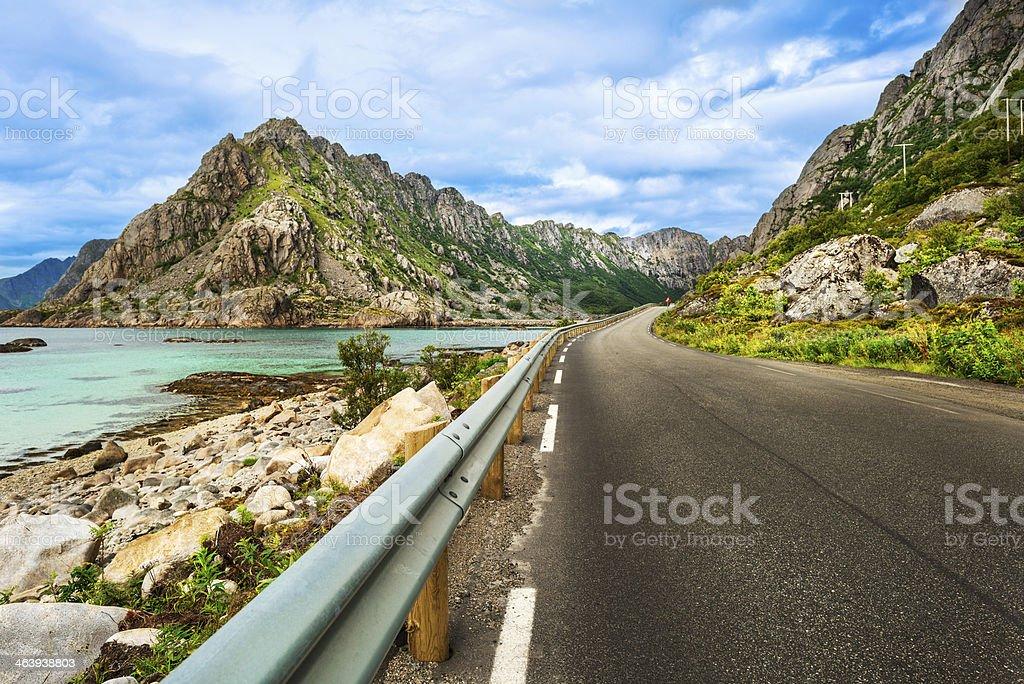 Road to Svolvaer stock photo