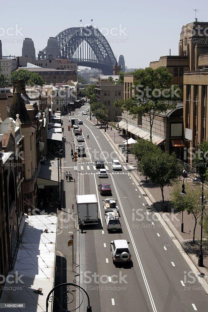 Road To Sydney Harbour Bridge royalty-free stock photo